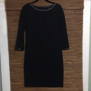 LBD 3/4 sleeve with faux leather trim